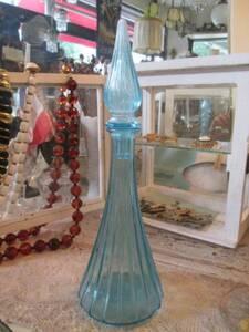 貴重!フランスアンティーク ミッドセンチュリー 青いガラス花瓶 ブルーFrance/parisパリ蚤の市北欧50'sインテリアantique