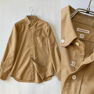 DRESSTERIOR OXFORD BD SHIRT オックスフォード素材/ボタンダウンシャツ/ラウンドカラー/D刺繍/日本製/長袖シャツ/ドレステリア/ベージュ/S