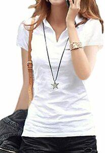 ホワイト S 【在庫セール】[セノーテリコ] ポロシャツ レディース 半袖 ストレッチ 襟付き オフィスカジュアル ベーシック
