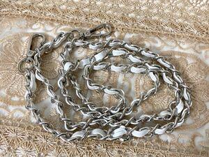 ショルダーバッグ用ロングチェーン(約120cm) ネックストラップ・スマホ (白×シルバー)