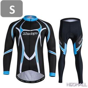 サイクリングウェア mersteyo 長袖 2点セット ブルー Sサイズ 自転車 ウェア サイクルジャージ 吸汗速乾防寒 新品 インポート品【924】