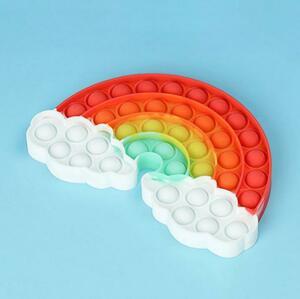 【送料コミコミ】 ストレス解消 グッズ プッシュポップ 虹 プッシュポップ バブル 知育玩具 スクイーズ玩具
