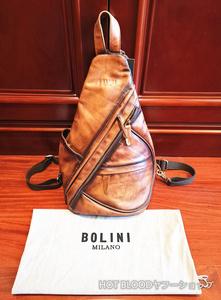 最上級逸品*◆イタリア・ミラノ発*BOLINI/ボリニ・最上級イタリア牛革使用*手作りパティーヌバック/リュックサック
