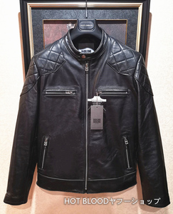 最高級ルーマニア製◆イタリア・ミラノ発*BOLINI*ブラックラインdesigner 最上級イタリアン牛革・ベッカム愛用・レザージャケット50