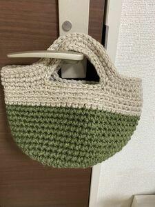 ハンドメイド 手編みバッグ トートバッグ お散歩バッグ ハンドバッグ