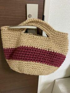 ハンドメイド 麻ひもバッグ 麻紐 手編みバッグ お散歩バッグ マルシェバッグ トートバッグ ハンドバッグ