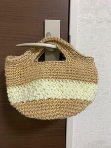 ハンドメイド 麻ひもバッグ 手編みバッグ ナチュラル トートバッグ 麻紐 お散歩バッグ マルシェバッグ ハンドバッグ