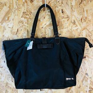 新品未使用 アフタヌーンティー トートバッグ バッグ A4 ブラック 黒 大容量 サテン ナイロン 折りたたみ シンプル リボン