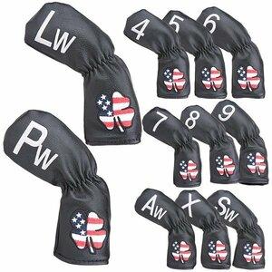 ヘッドカバー アイアンカバー アメリカ柄 4番~9番 AW PW SW LW X番手付 11点セット 防水
