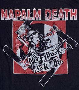 ナパームデス Tシャツ 黒ブラック PUNK パンク ハードコア GISM GAUZE OUTO SOB GHOUL LIPCREAM アスフォート ディスクローズ レア廃盤