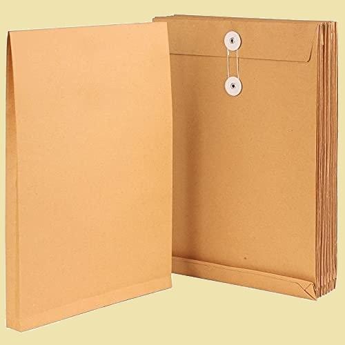 未使用 新品 封筒 Leobro D-R4 保存袋 保存用に クラフト 15枚 a4サイズ 角形2号 マチ付 ハトメ紐付 200g/m2 クラフト紙