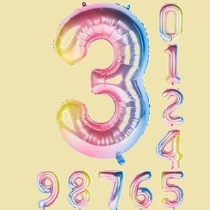 在庫残りあと僅か 数字バル-ン40インチ0-9誕生日パ-ティ-デコレ-ションの風船の数字3 虹色 R-SL