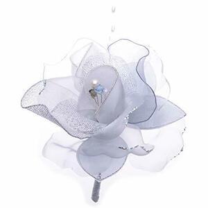 アウローラ 2輪のコサージュ 日本製 入学式 入園式 卒業式 卒園式 結婚式 2次会 パーティー (シルバー)