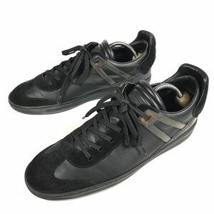 【ルイヴィトン】本物 LOUIS VUITTON 靴 26cm 黒 ダミエライン スニーカー カジュアルシューズ レザー×スエード 男性用 メンズ 伊製 7