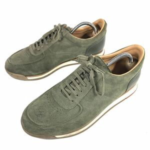 【ジョンロブ】本物 JOHN LOBB 靴 25cm 緑色系 スニーカー カジュアルシューズ スエード 男性用 メンズ イタリア製 6 1/2 E
