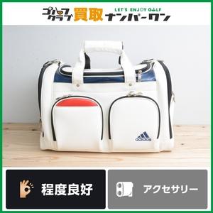 【程度良好 正規品】アディダス CORE ボストンバッグ ホワイト/ネイビー ロッカーバッグ シューズインポケット付 QR651