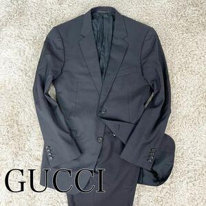 【最高級の質感/美品】1円 GUCCI グッチ ストライプスーツ セット XL GG柄 モヘア シルク テーラードジャケット スラックス 黒 ブラック