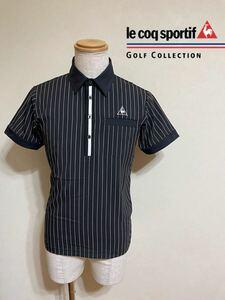 【良品】 le coq sportif GOLF ルコック ゴルフ ウェア ドライポロシャツ トップス サイズM 半袖 黒 白 ストライプ柄 QGMNJA70