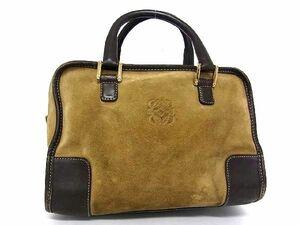 1円 LOEWE ロエベ アナグラム アマソナ27 スエード×レザー ゴールド金具 ハンドバッグ トートバッグ 手持ちかばん ブラウン系 R2023アN