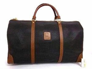 1円 BALLY バリー PVC×レザー ゴールド金具 ハンドバッグ ボストンバッグ トラベルバッグ 旅行かばん ブラック系×ブラウン系 R2118QM