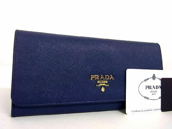 1円 ■新品同様■ PRADA プラダ 1M1132 サフィアーノレザー ゴールド金具 二つ折り 長財布 ウォレット ダークネイビー系 P4931QC