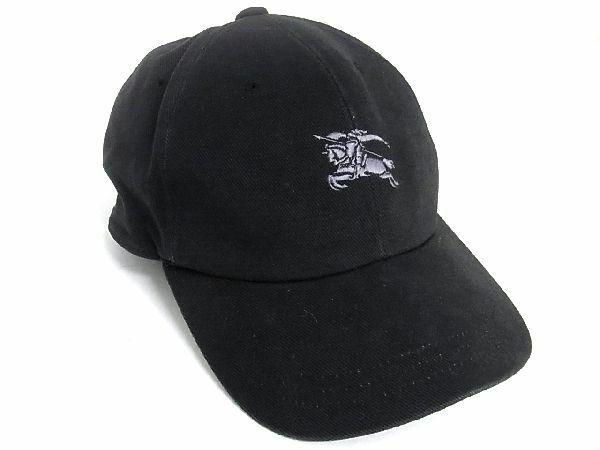1円 BURBERRY バーバリー コットン キャップ ベースボールキャップ 野球帽 帽子 メンズ レディース ブラック系 S7390Uk