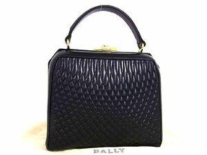 1円 ■極美品■ BALLY バリー レザー ゴールド金具 キルティング ワンハンドル ハンドバッグ 手持ちかばん ブラック系 S6582アk