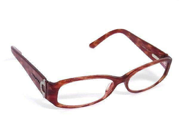 1円 BVLGARI ブルガリ 4007-B 873 54□15 135 ラインストーン 度入り メガネ 眼鏡 レディース レッドブラウン系 M6108Kh