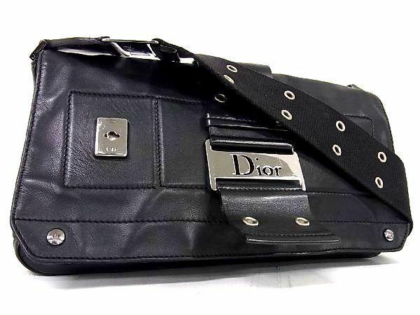1円 ■美品■ Christian Dior ディオール ストリートシック レザーショルダーバッグ 肩掛け 斜め掛けかばん レディース ブラック系 S7177Jh