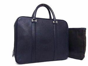 1円 ■美品■ BALLY バリー レザー シルバー金具 ビジネスバッグ ハンドバッグ ブリーフケース 書類かばん メンズ ネイビー系 S7541sM