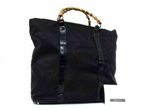1円 GUCCI グッチ 002 2058 0412 5 バンブー ナイロン×レザー ハンドバッグ トートバッグ 手提げかばん 手持ちかばん ブラック系 S8105Xオ
