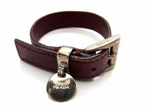 1円 PRADA プラダ レザー シルバー金具 ブレスレット バングル 腕輪 アクセサリー メンズ レディース ボルドー系 S6241JM