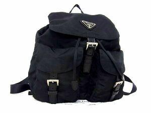 1円 ■極美品■PRADA プラダ テスートナイロン シルバー金具 巾着型 リュックサック バックパック メンズ レディース ブラック系 S8912fZ