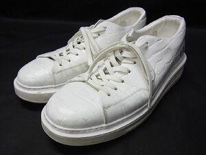 1円 LOUIS VUITTON ルイヴィトン ビバリーヒルズライン クロコダイル型押し スニーカー サイズ8 (約26.5cm) 靴 メンズ ホワイト系 S7583Kh