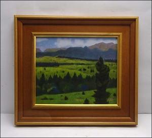 緑屋xt■ 額装 在銘 『山水 風景画』 日本画 岩彩画 i2n/9-296/31-2#160
