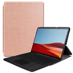 Surface Pro X 専用 スリムケース カバー 薄型 軽量型 スタンド機能付き 高品質PUレザーケース ローズゴールド