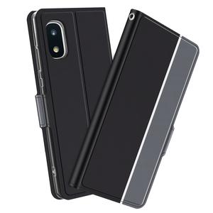 【送料無料】Galaxy A21 SC-42A /SCV49 スマホケース 手帳型ケース カバー ツートンカラー ストラップ付き ブラック&グレー