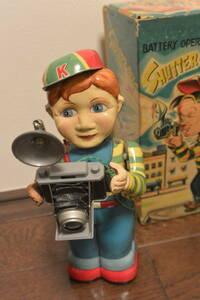 ブリキトイ 希少名品「Shutter-Bug」(アマチュア写真家)カメラ少年【完動品】 野村トーイ ブリキのおもちゃ/玩具/昭和レトロ