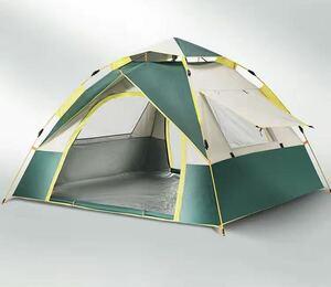 テント 3-4人用 ワンタッチテント アウトドア用 二重層 設営簡単 コンパクト