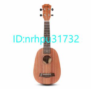 ★高評価店★Mz980:21インチ 4弦ウクレレ ハワイパイナップル形 マホガニーミニギター エレクトリック ベース ウクレレ ギター音楽楽器