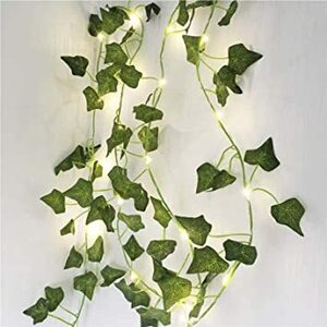 Ivy フェイクグリーン アイビー 12本入り 2.2M 人工観葉植物&イルミネーションライト 100球 電池式 アイビー 造花