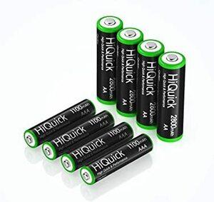 単4充電池4本+単3充電池4本 HiQuick 単三充電池 単四充電池 セット 単三充電池 2800mAh 4本+単四充電池 1