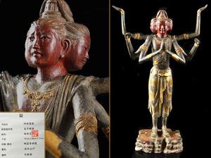 【雲】名品 瑞峰堂 喜多敏勝 作 蝋型青銅製 細密彫刻阿修羅像 漆仕上 高さ41cm 古美術品 (釈迦如来仏像チベット仏) C8474