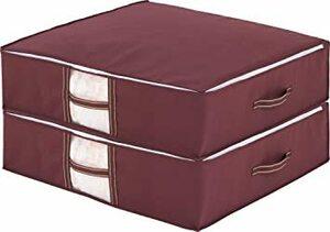ブラウン 2個 約76×70×20cm アストロ 羽毛布団 収納袋 2枚 シングル・ダブル兼用 ブラウン 不織布 コンパクト