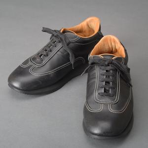 1円 レア品 エルメス HERMES Hロゴ クイック スニーカー 25cm レザー ブラック ステッチ 紐 シューズ イタリア製 カジュアル 靴 Ma.k