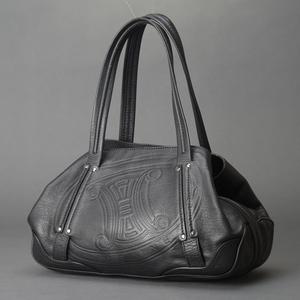1円 極美品 CELINE セリーヌ マカダム ブラゾン ショルダーバッグ 型押し レザー ブラック ボストン 使用感少 ビンテージ 鞄 Mb.g