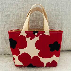 北欧柄トートバッグ 花柄トートバッグ ミニトートバッグ ハンドメイドバッグ