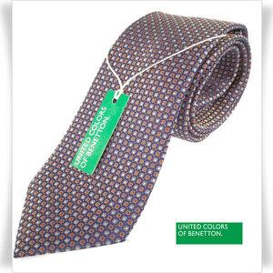 新品★BENETTON ベネトン シルク絹100%ネクタイ 織柄 正規店本物 ◆2157◆