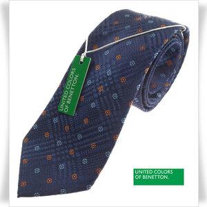 新品★BENETTON ベネトン シルク絹100%ネクタイ 織柄 正規店本物 ◆2477◆