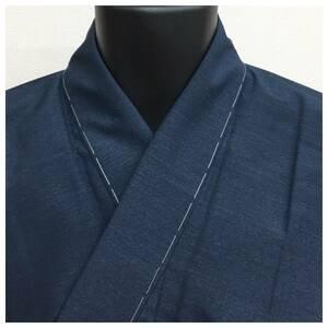 未使用 美品 正絹 紬 紺 長着 男物 袷 身丈141 裄67 中古品